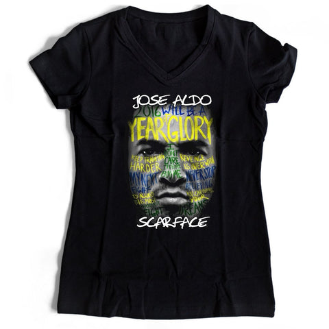 Jose Aldo Scarface Women's V-Neck Tee T-Shirt - Nuu Shirtz