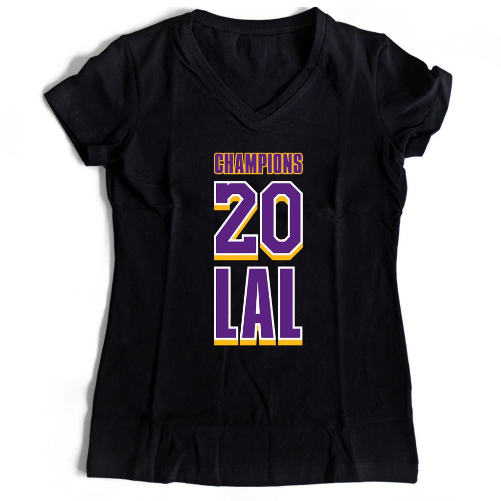 Lal 2020 Champions Of The World Lakers Women's V-Neck Tee T-Shirt - Nuu Shirtz