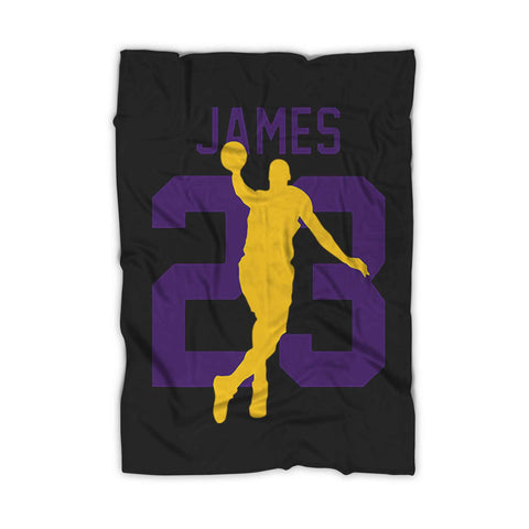 Lbj 23 Lakers Fleece Blanket