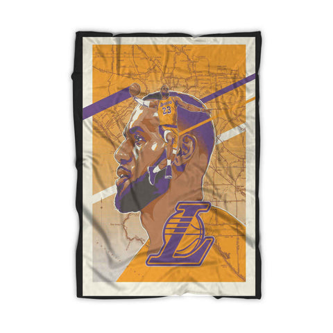 Los Angeles Lakers Lebron James Poster Blanket