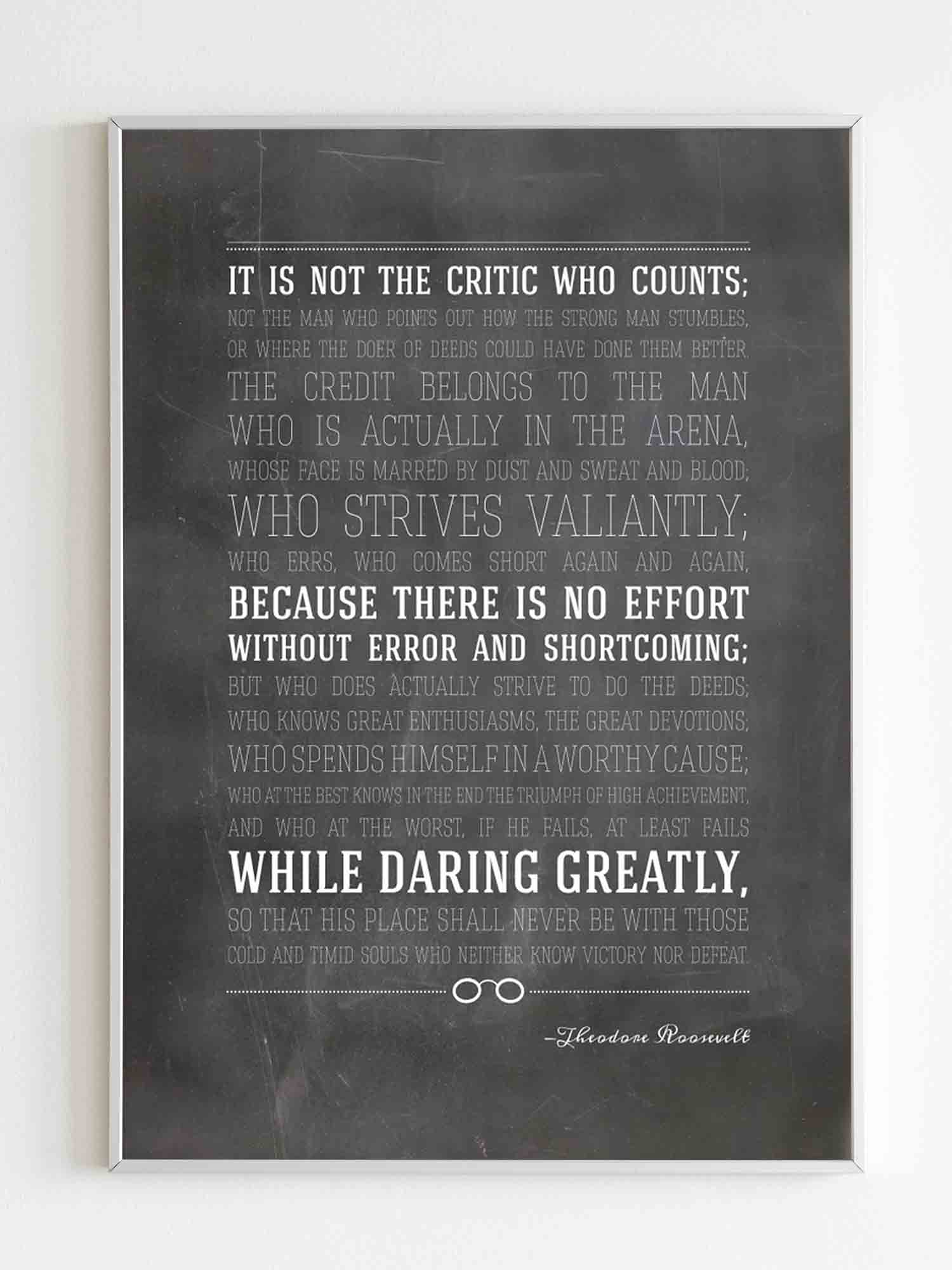 Man In The Arena Theodore Roosevelt Quote Poster
