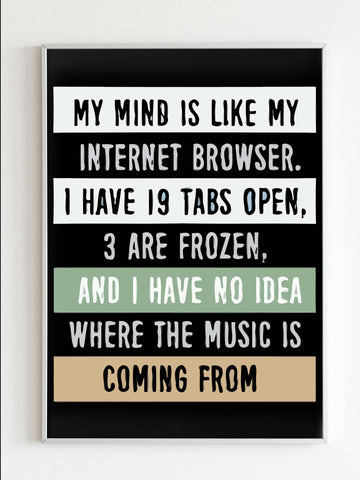 My Mind Is Like A Internet Browser Poster