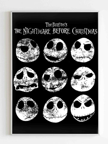 Nightmare Before Christmas 9 Jack Expressions Poster