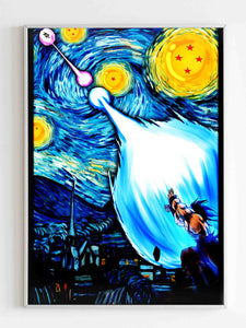 Parody Starry Night Goku Vs Vegeta Poster