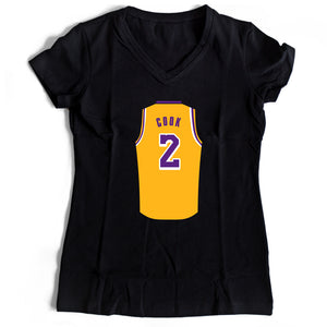 Quinn Cook Jersey Lakers Women's V-Neck Tee T-Shirt - Nuu Shirtz