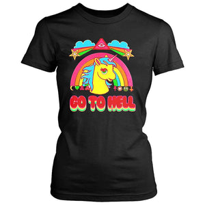 Rainbow Unicorn Go To Hell Cartoon Women's T-Shirt