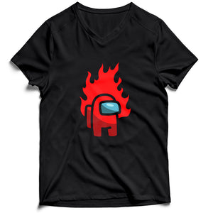 Red Fire Among Us Men's V-Neck Tee T-Shirt - Nuu Shirtz