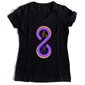 Retired 8 24 Lakers Women's V-Neck Tee T-Shirt - Nuu Shirtz