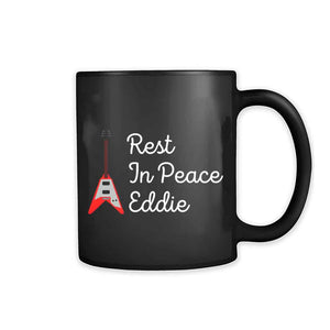 Rip Eddie Eddie Van Halen White Red Guitar Rest In Peace 11oz Mug - Nuu Shirtz