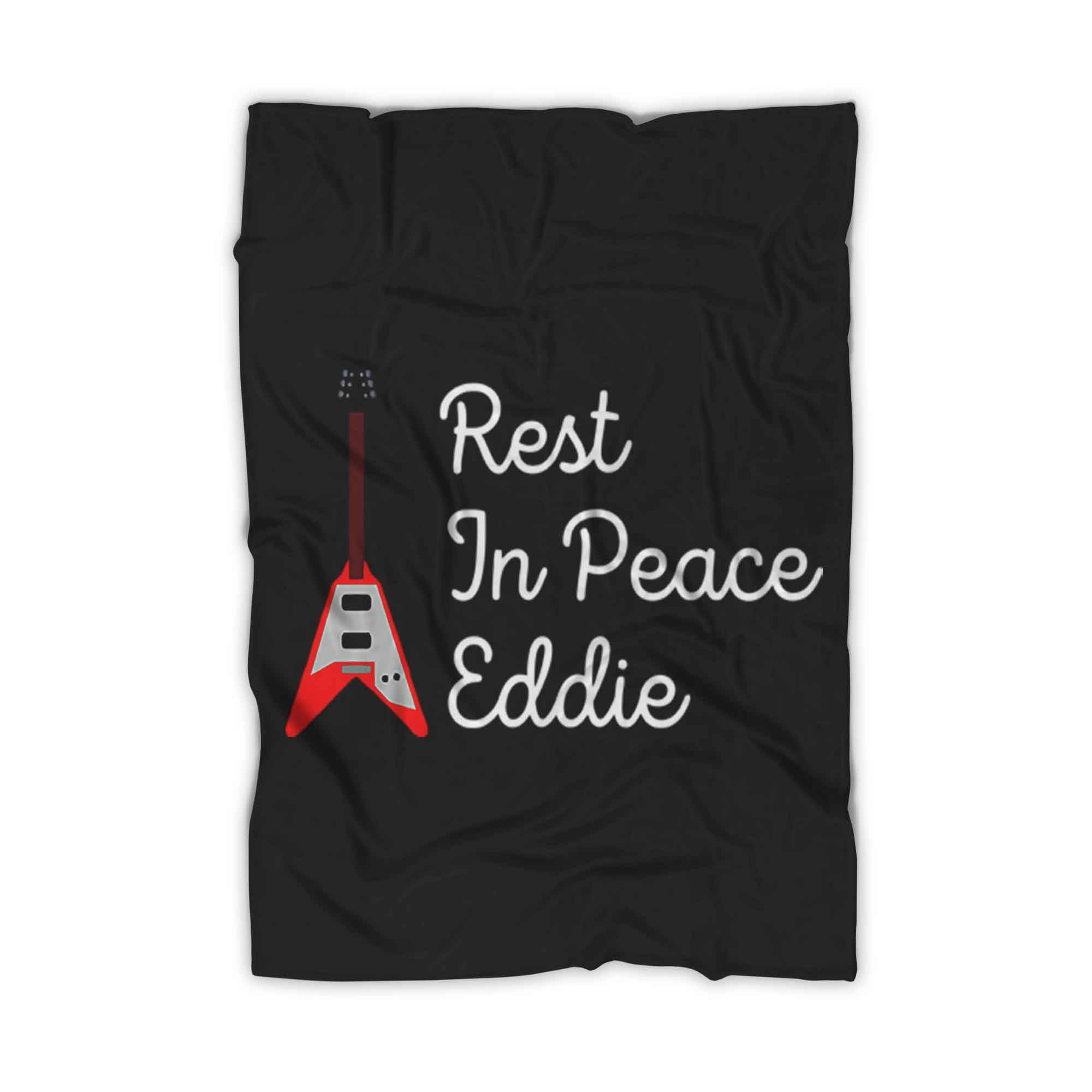 Rip Eddie Eddie Van Halen White Red Guitar Rest In Peace Fleece Blanket