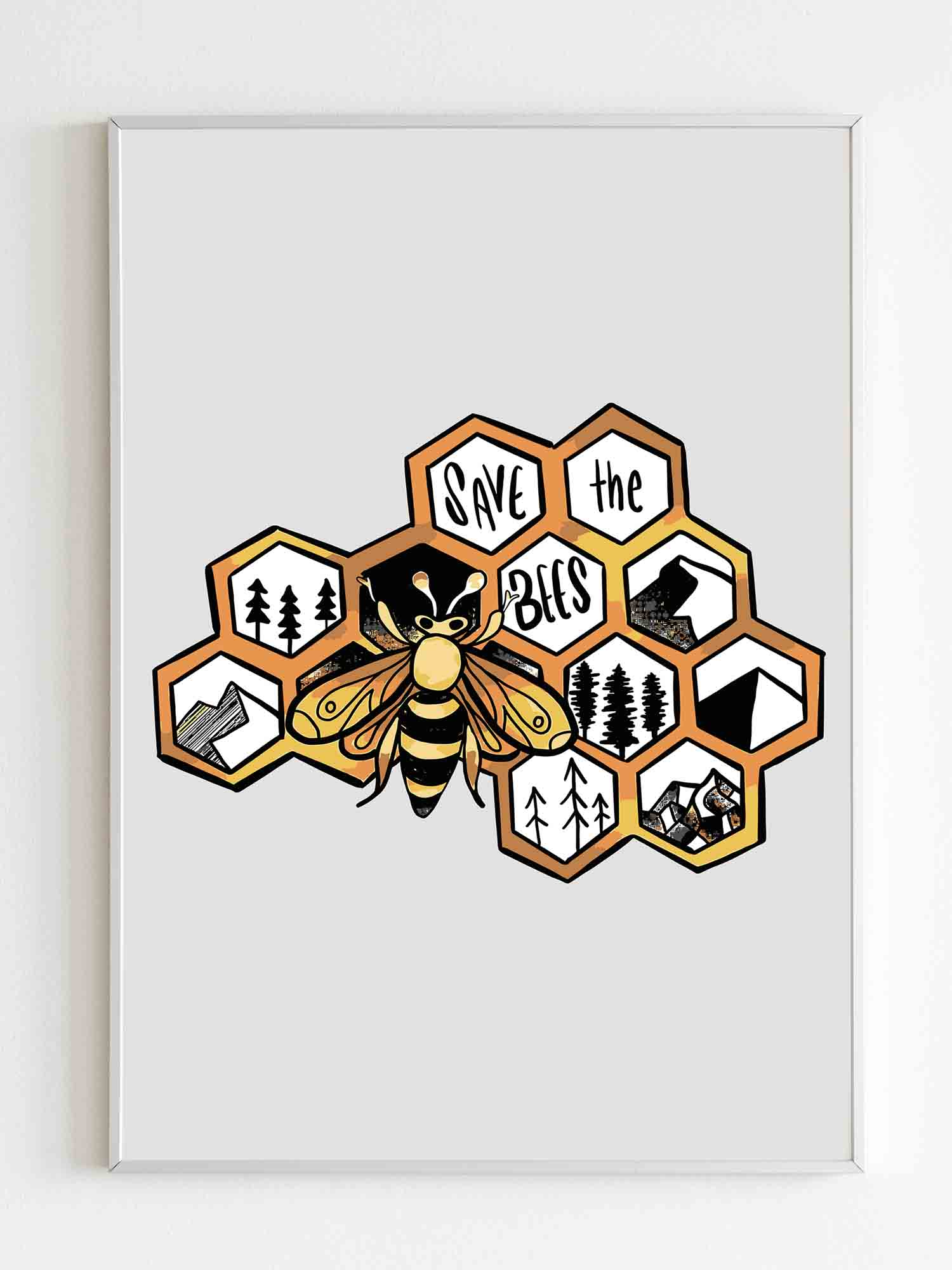 Save The Bees Art Poster