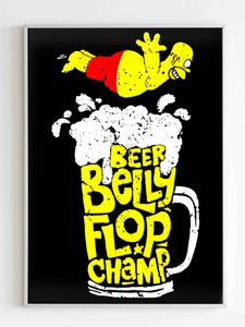 Simpsons Beer Belly Flop Champ Fun Retro Poster