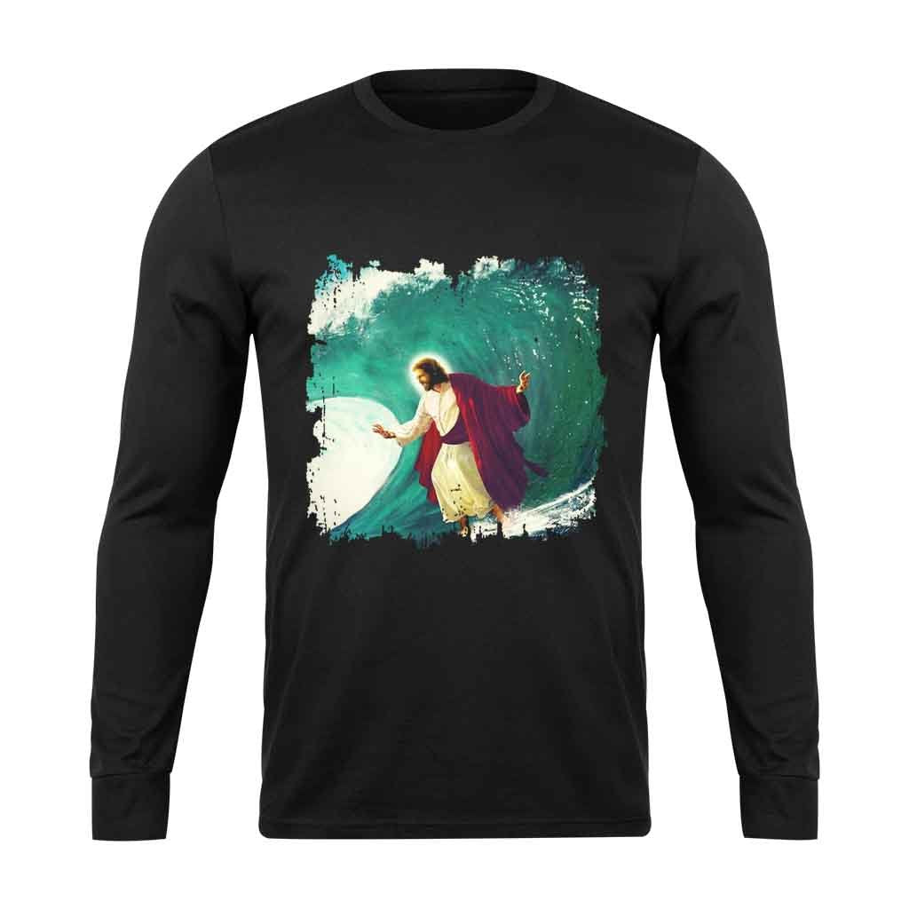 Surfing Jesus Surfing Long Sleeve T-Shirt