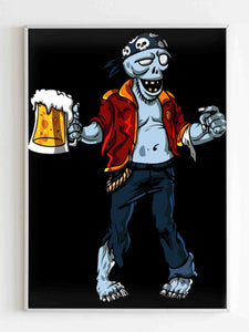 Zombie Pirate Beer Drinking Halloween Party Poster - Nuu Shirtz