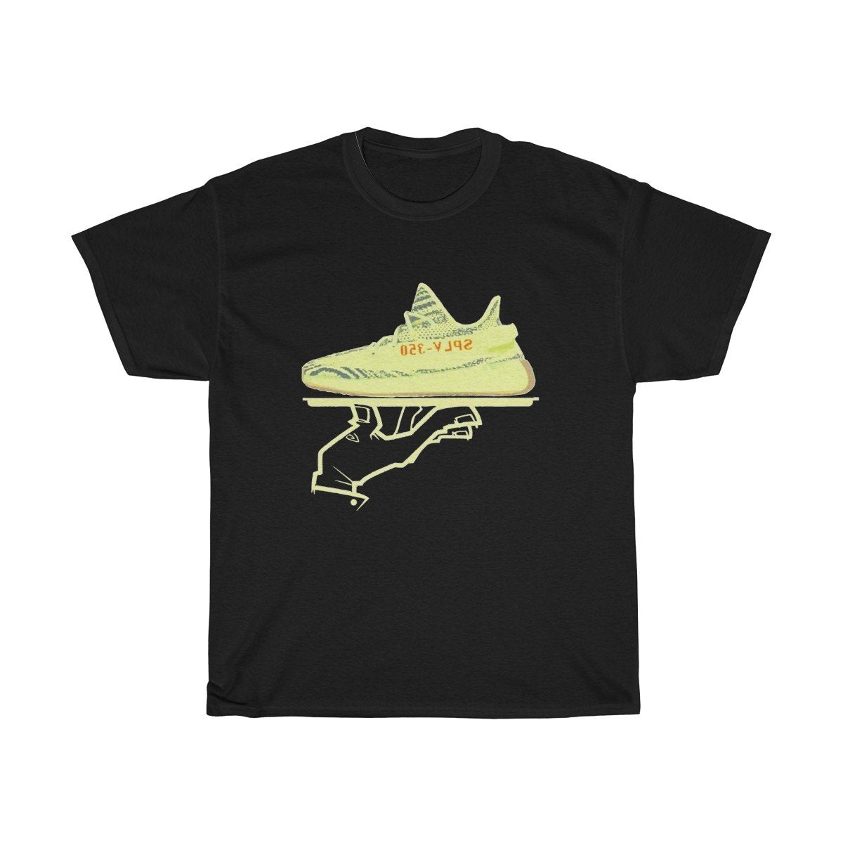 Yeezy Boost 350 V2 Semi Frozen Yellow Sneakermatch Black Mens T Shirt