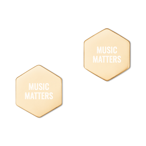 Sterling Silver Music Matters Hexagon Stud Earrings