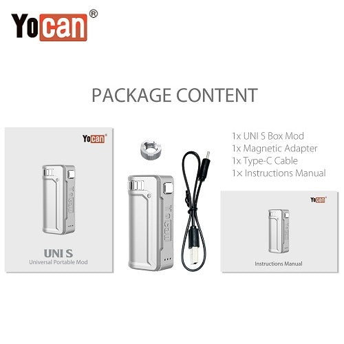 5 Yocan Uni S Cartridge Battery Mod Package Contents Yocan Wholesale