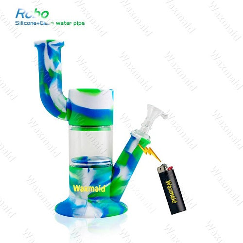 "Waxmaid Robo 9"" Silicone and Glass Water Pipe"