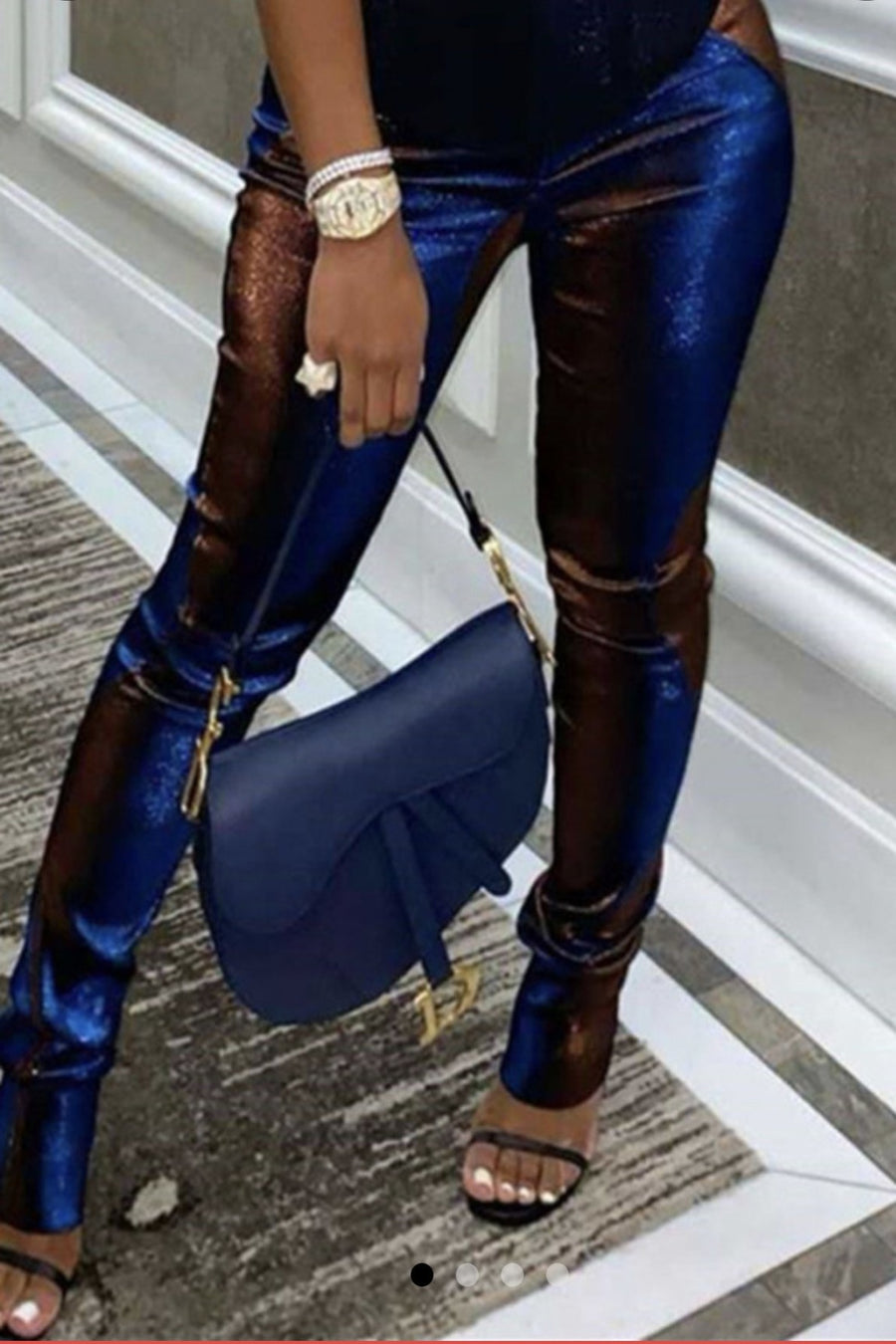 Shining Mesh Royal Blue & Brown Pants