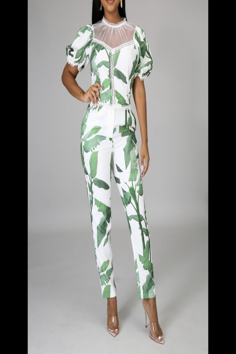 KLASSY Green & White pants set
