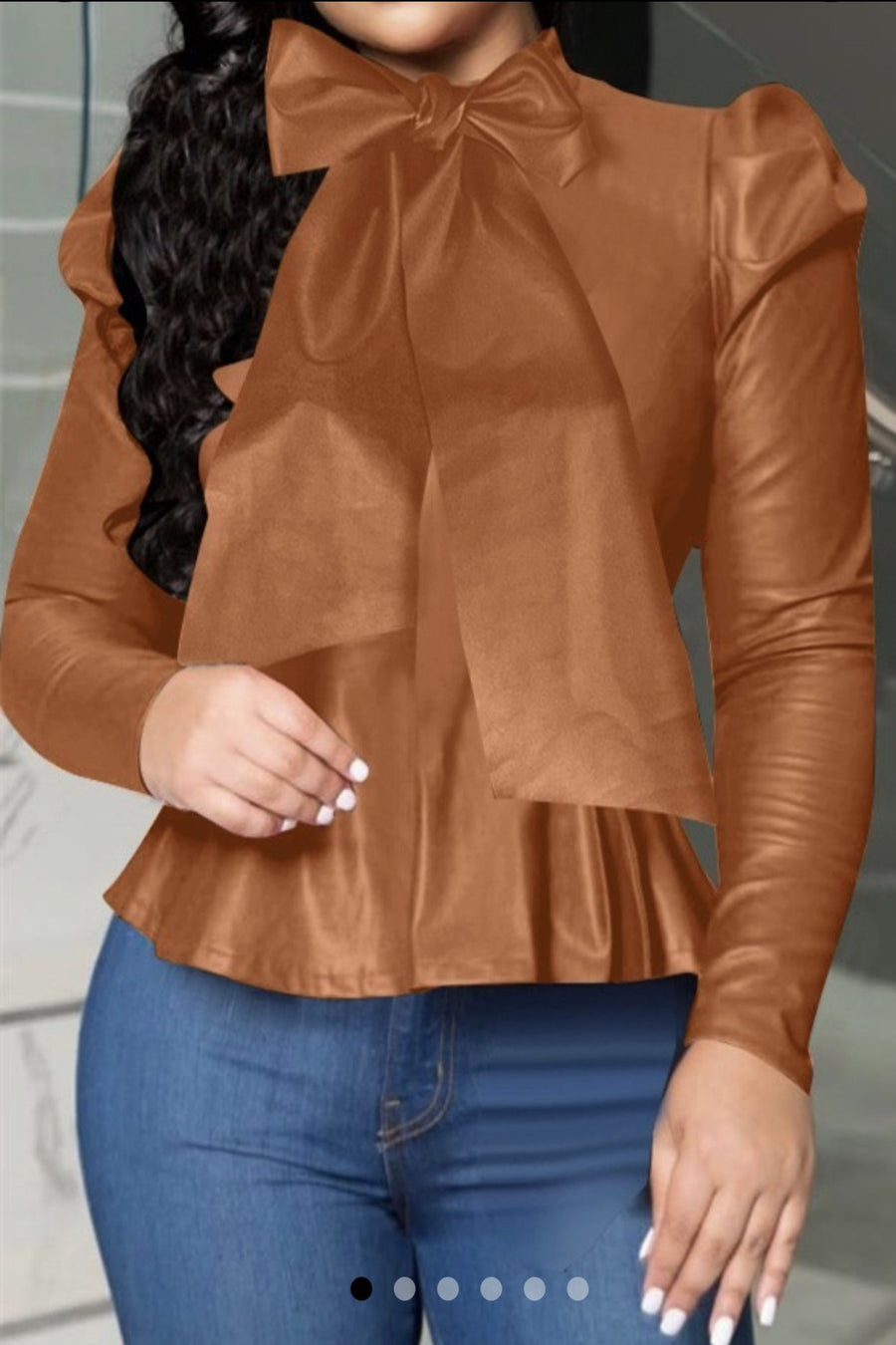 Dark Camel Brown Leather Blouse