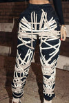 Cream & Black String imprint pants