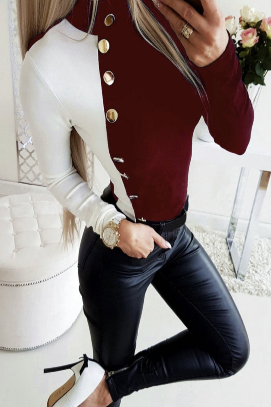 Burgundy & White Split Color Blouse