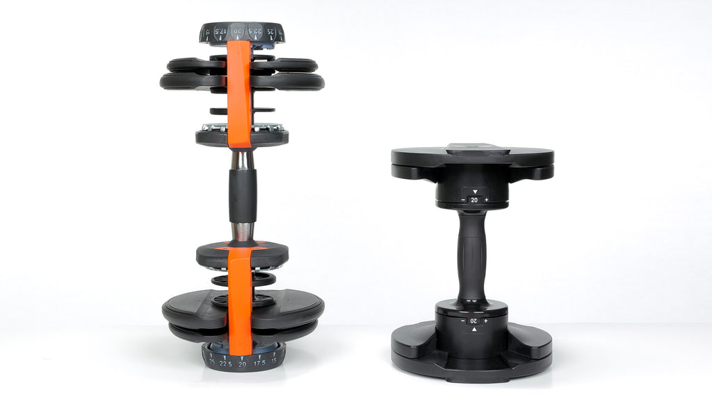 Core Home Fitness adjustable dumbbell standing up next to competitor