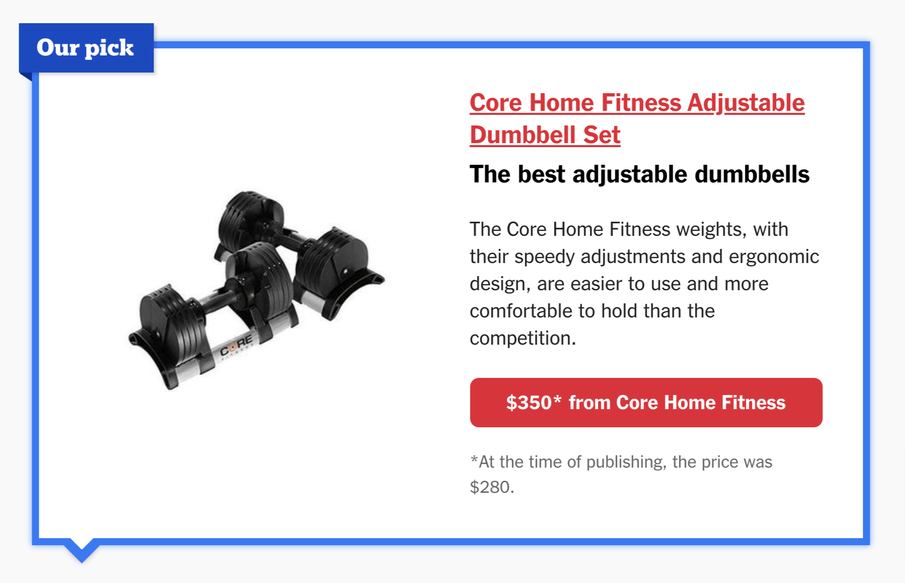 best adjustable dumbbell core home fitness dumbbells voted by Wirecutter