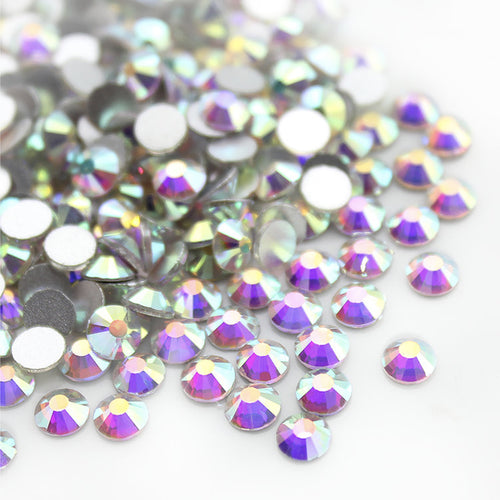 Crystal AB, The Playful Pear® Grade A Flat-Back Glass Rhinestones Size: ss6 - ss20