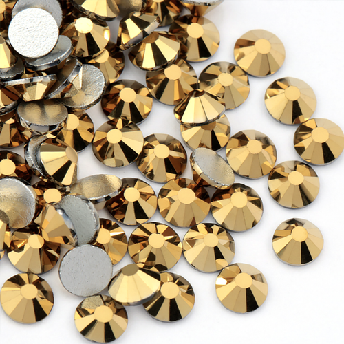 Metallic Gold, The Playful Pear® Grade A Flat-Back Glass Rhinestones Size: ss6 - ss20