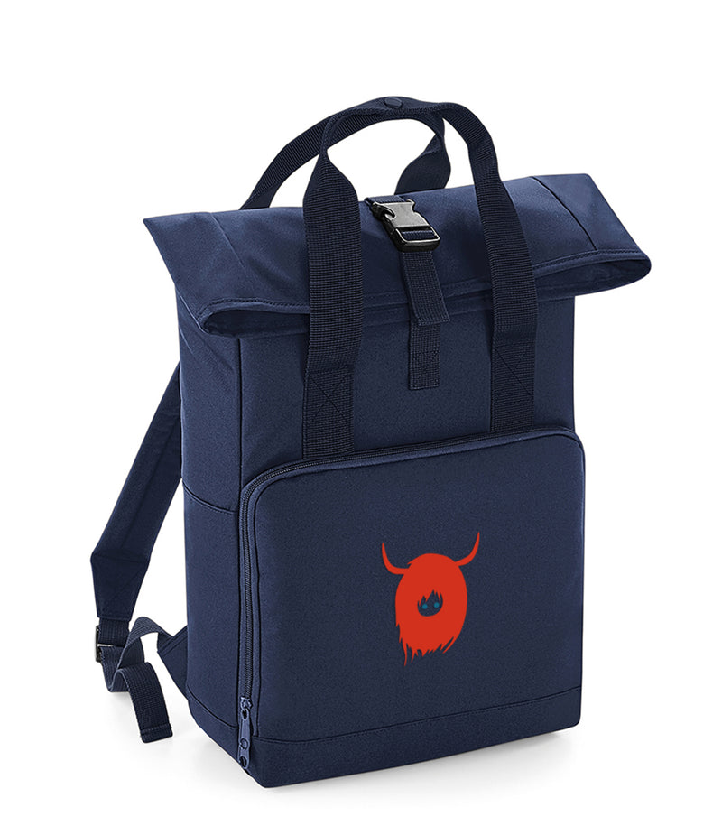 Roll Top Back Pack with Sonsie Face Highland Cow Logo