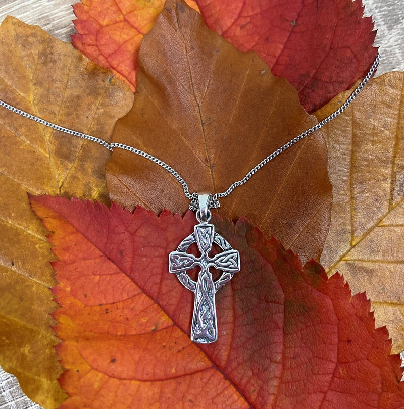 Sterling Silver Necklace with Celtic Cross Pendant