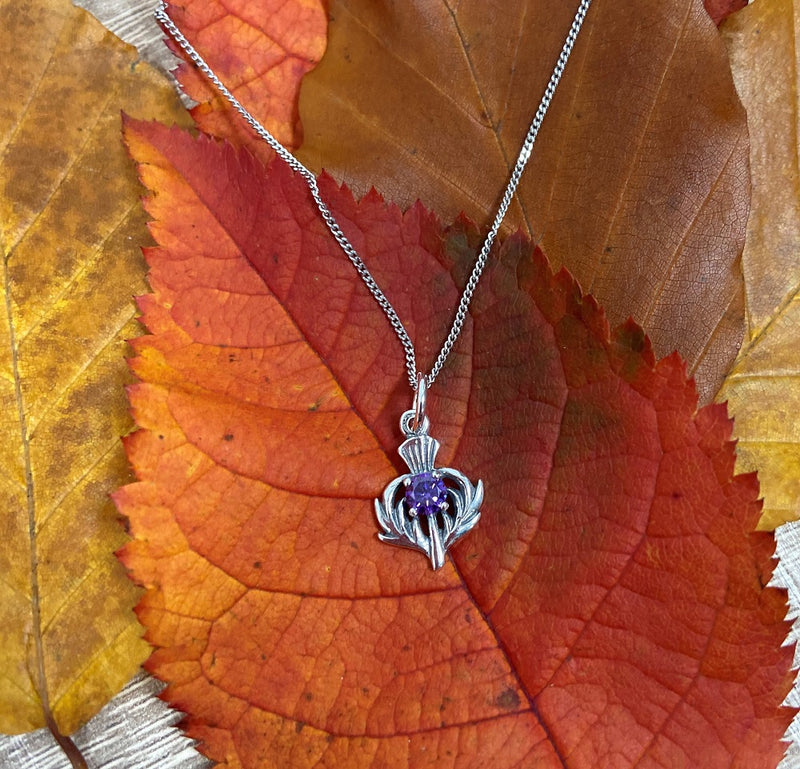 Sterling Silver Necklace with Purple Amethyst Thistle  Charm