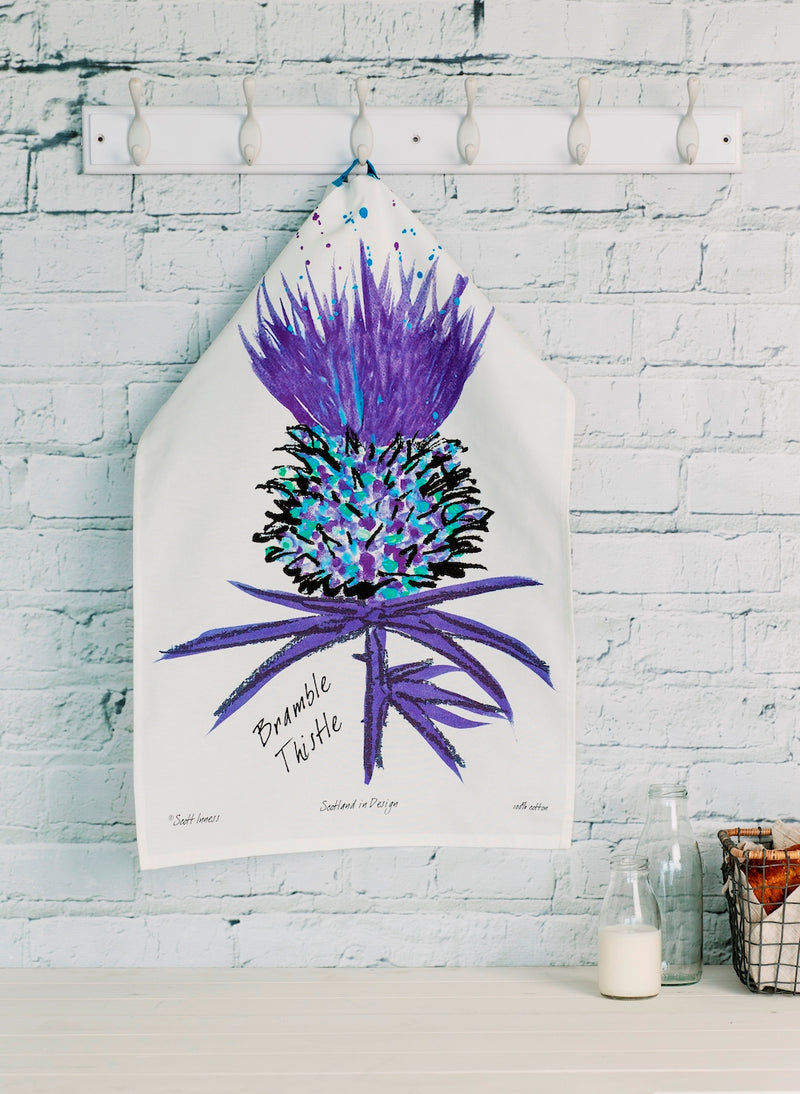 Tea Towel with Scottish Thistle design