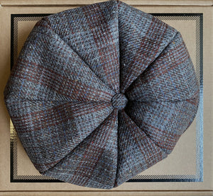 Baker Boy Cap - Grey & Burgundy Plaid