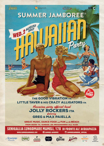 locandina hawaiian party 2017 summer jamboree senigallia