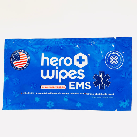 HeroWipes Alcohol Sanitizing Wipes (Individually Wrapped & Made in USA) - Pack of 10