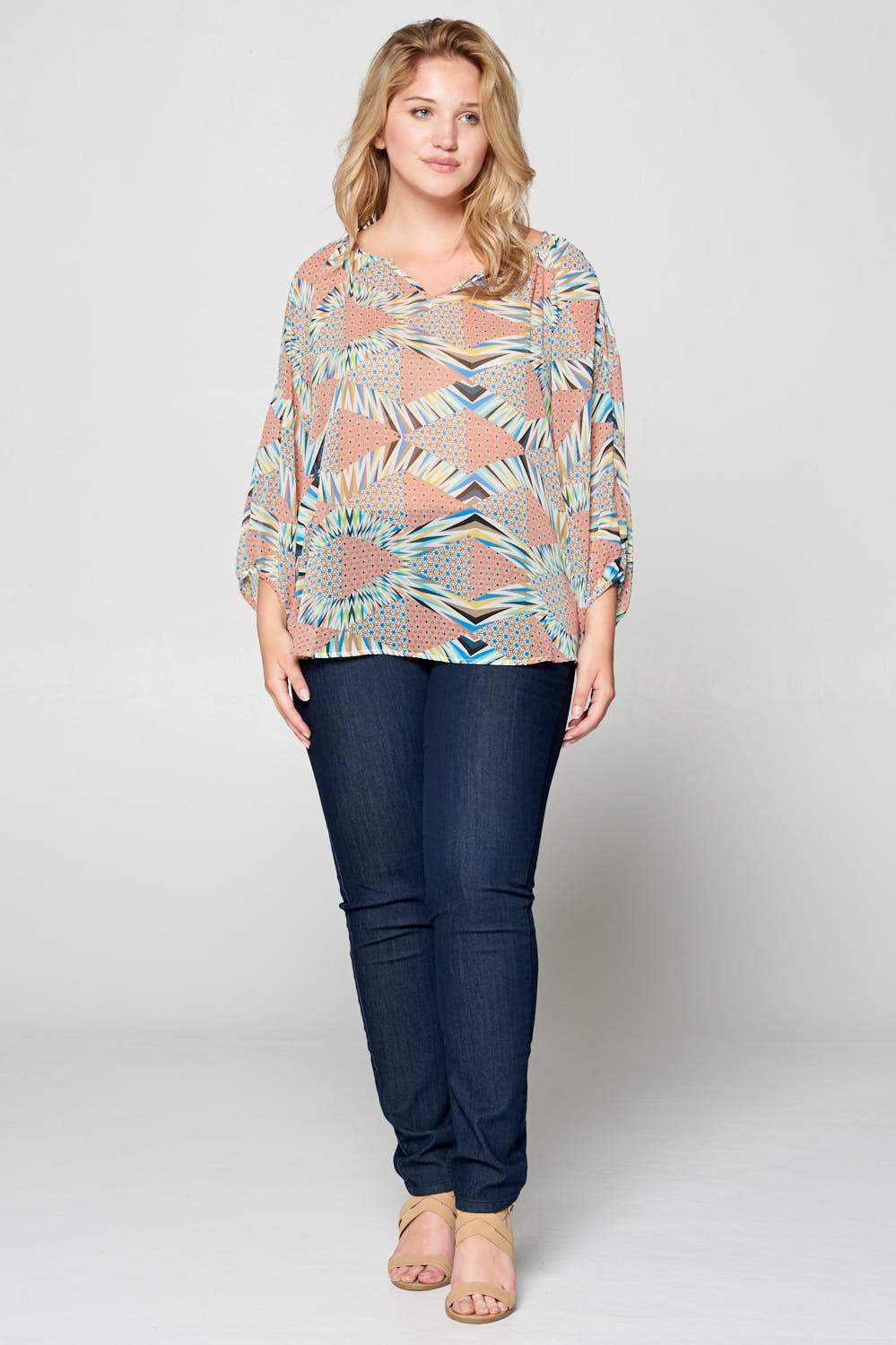 Plus Size V-Neck Open Sleeve Top