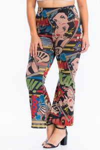 Comic Print, Flared Yoga Pants