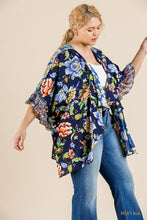 Load image into Gallery viewer, Floral Mixed Print Ruffle Bell Sleeve Open Front Kimono With Side Slits