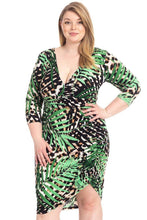 Load image into Gallery viewer, Plus Size Leopard Print With Tropical Leaf Print Bodycon Dress