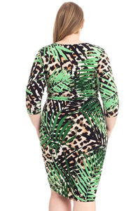 Plus Size Leopard Print With Tropical Leaf Print Bodycon Dress