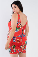 Load image into Gallery viewer, Plus Size Tomato Red Floral Print Scoop Back Cinched Center Mini Dress