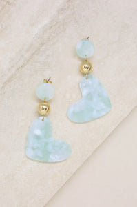 Hopeless Romantic Earrings in Mint and Gold
