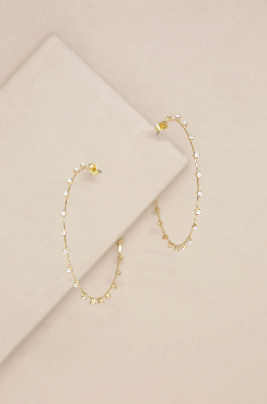 Simple Spark Crystal 18k Gold Plated Hoops