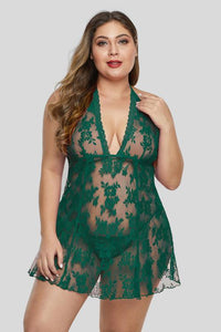 Green Open Back See Through Lace Plus Size Lingerie