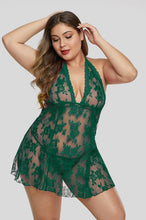 Load image into Gallery viewer, Green Open Back See Through Lace Plus Size Lingerie