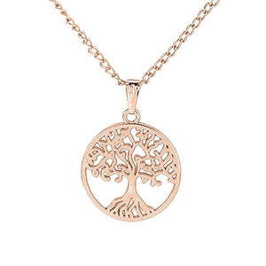 Bohemian Filigree Tree Of Life Necklace Set in 14K Rose Gold