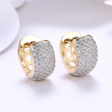 Load image into Gallery viewer, Swarovski Crystals 16mm Pave Heart Filigree Huggie Earring